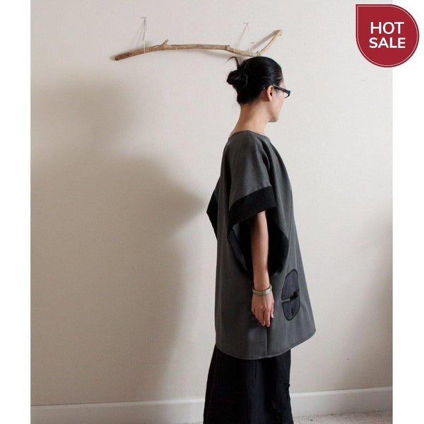 gray herringbone wool kimono wide sleeve tunic with round pocket  / ready to wear - linen clothing by anny