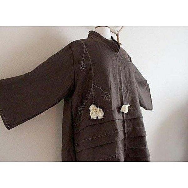 Custom pleated linen tunic with leaf motif and roses-linen clothing by anny
