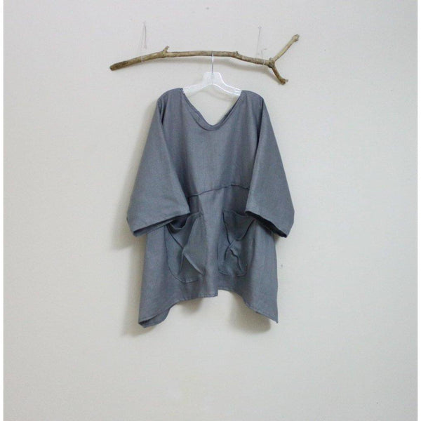 custom oversized eco linen top with big pockets-top-linen clothing by anny