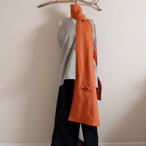 extra long linen pouch scarf made to order custom color - linen clothing by anny