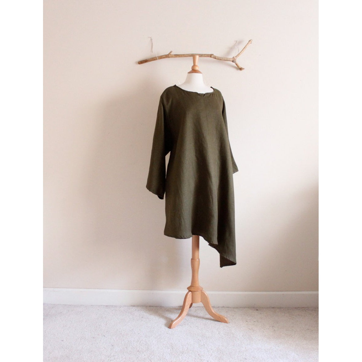 custom calla lily asymmetrical hem linen dress