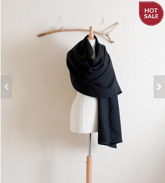 ready to wear black linen wrap shawl ready to ship listing