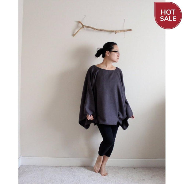 ready to wear oversized purple herringbone wool kimono wide sleeve top with folds - linen clothing by anny
