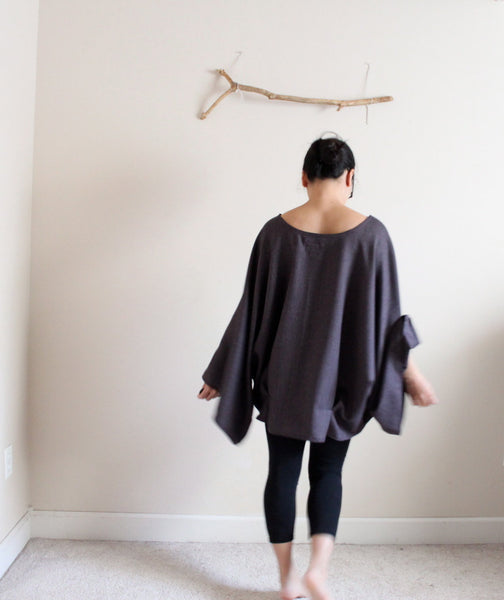 ready to wear oversized purple herringbone wool kimono wide sleeve top with folds