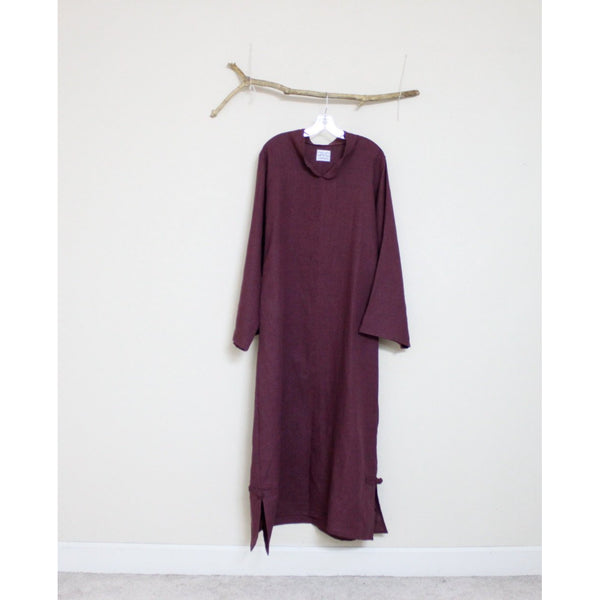 custom linen chipao robe with long sleeves