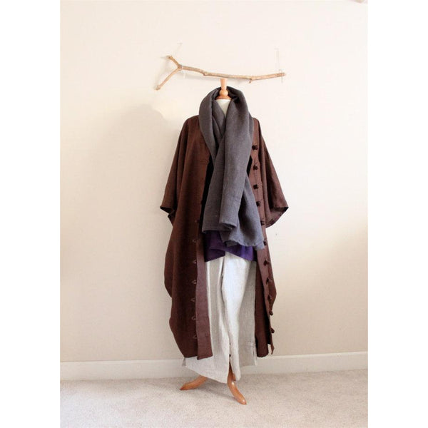 geisha linen outfit four pieces including coat, top, pants and scarf
