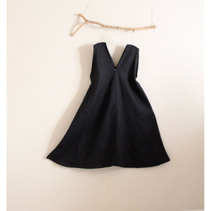 custom linen origami flare seam dress