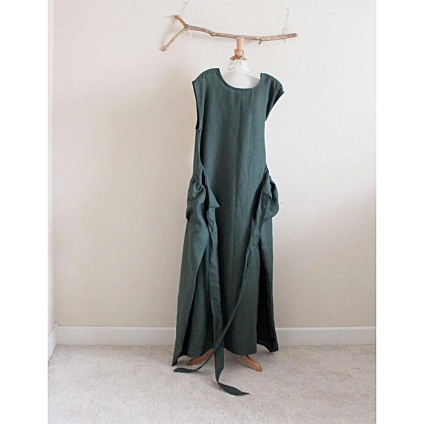 custom sleeveless linen flutter dress-linen clothing by anny