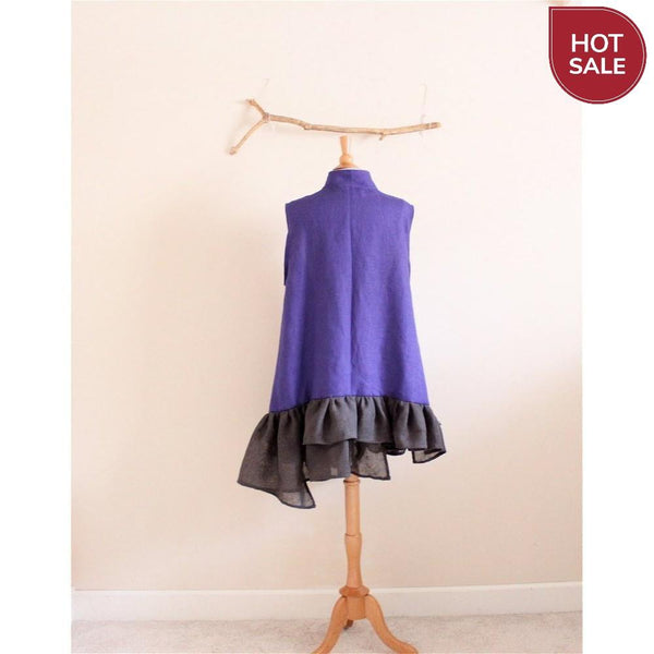 Sold / lagenlook ruffle purple linen vest  ready to ship - linen clothing by anny