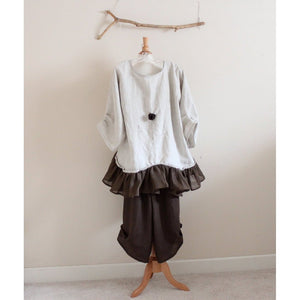 custom chocolate rose linen outfit blouse with gaucho pants