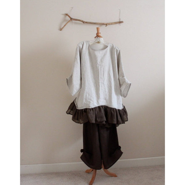 custom chocolate rose linen outfit blouse with gaucho pants - linen clothing by anny