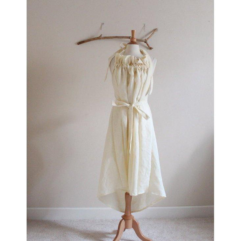 Alternative eco wedding linen ruffle dress made to order - linen clothing by anny