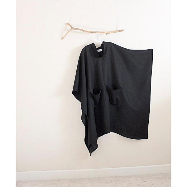 custom heavy linen swallow long length poncho with big pockets
