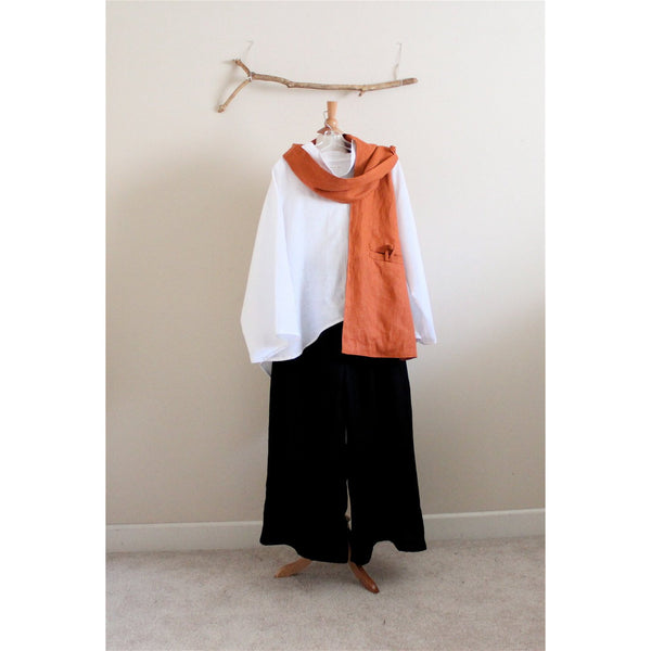 Custom white linen blouse, black wide leg pants and linen scarf with pockets