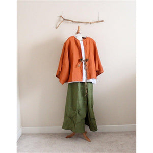 Custom rustic roses linen outfit including jacket, top and pants-outfit-linen clothing by anny
