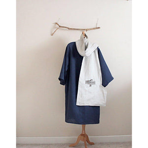 linen outfit handmade to measure chipao collar tunic dress with big pouch linen long length scarf - linen clothing by anny