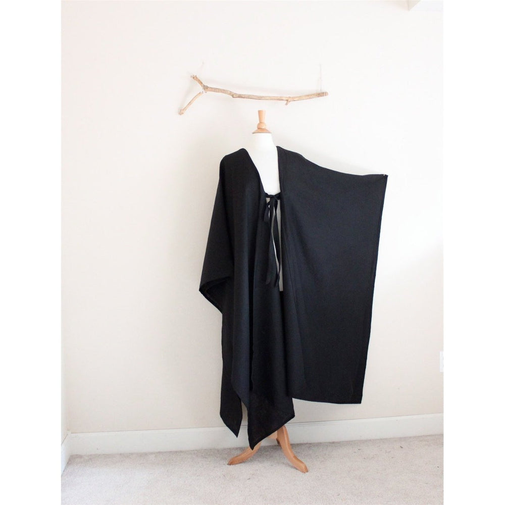long length linen origami wrap poncho made to order- linen clothing by anny