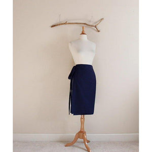 simple wrap cotton knee length skirt made to order - linen clothing by anny