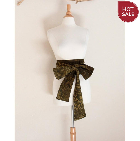 olive batik cotton obi ready to ship-obi-linen clothing by anny