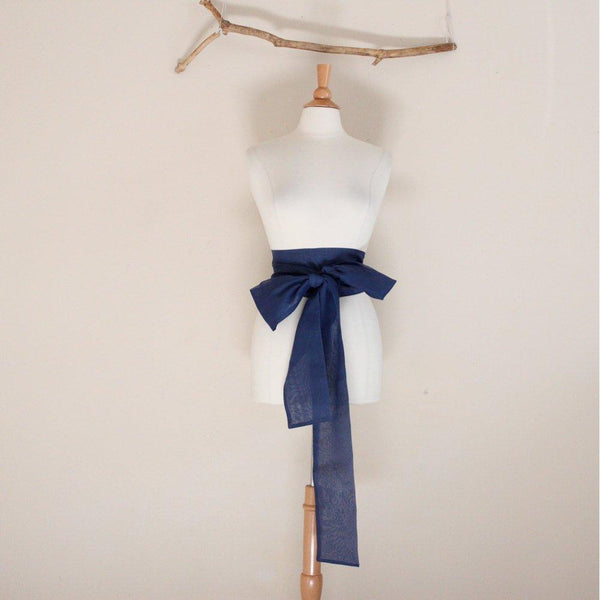 eco chic navy sheer cotton obi MADE TO ORDER