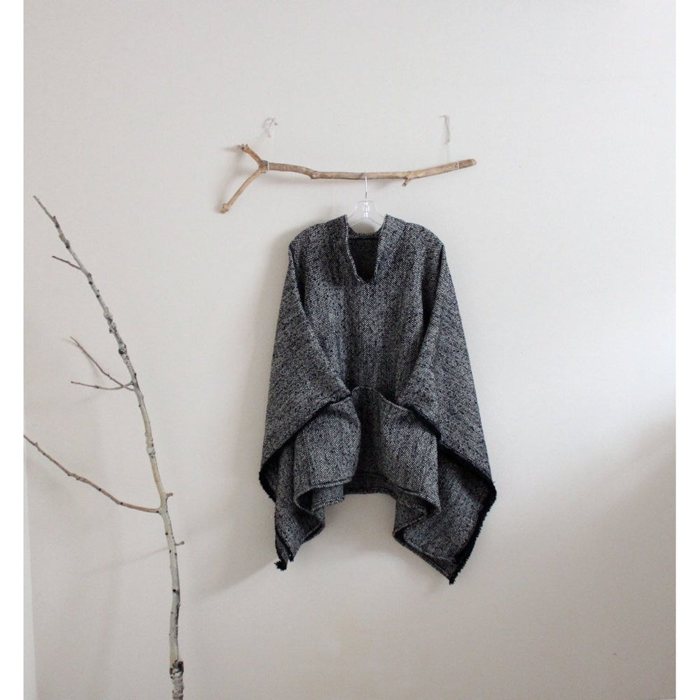 made to order wool linen blend swallow asian poncho / warm winter poncho - linen clothing by anny