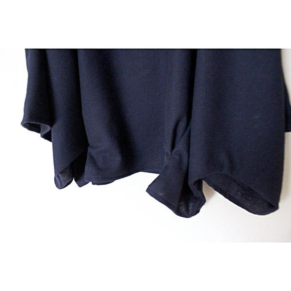 Custom oversized soft navy wool kimono wide sleeve top - linen clothing by anny