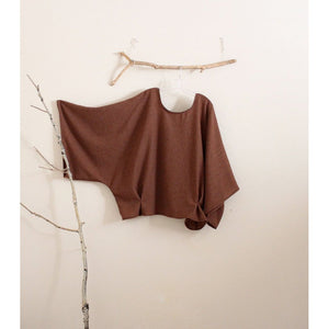 oversized soft autumn brown wool kimono wide sleeve top with folds made to order-top-linen clothing by anny