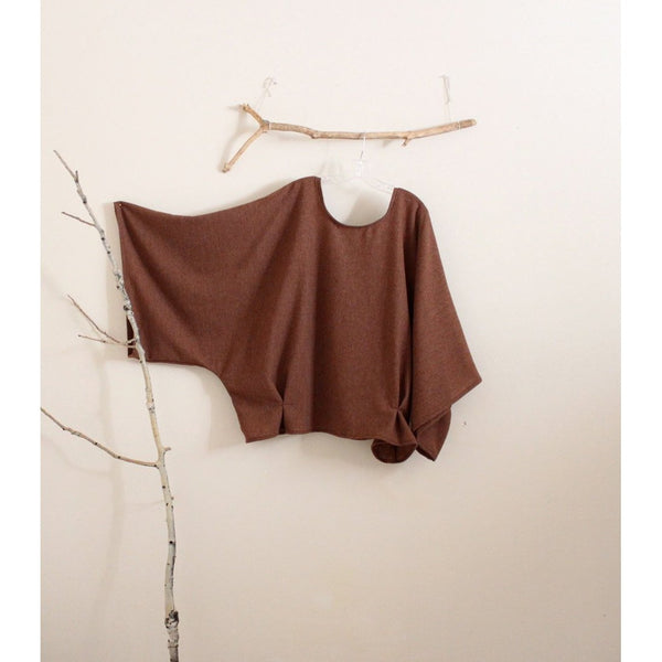 oversized soft autumn brown wool kimono wide sleeve top with folds made to order - linen clothing by anny