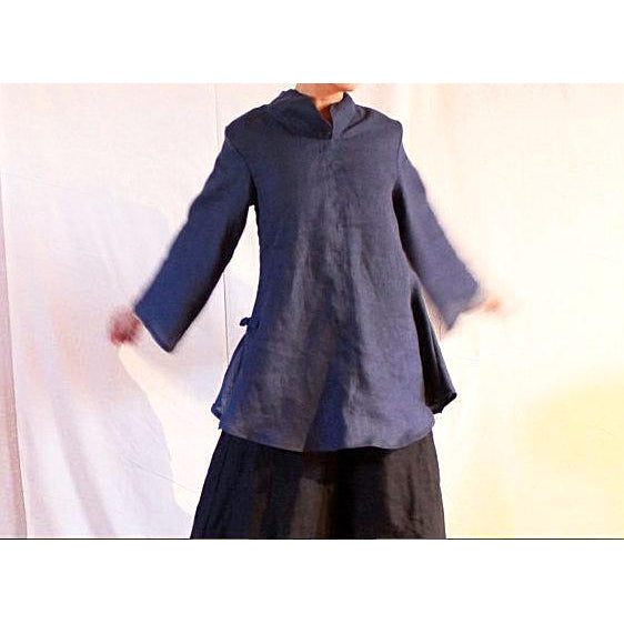 custom Asian blouse with long sleeves