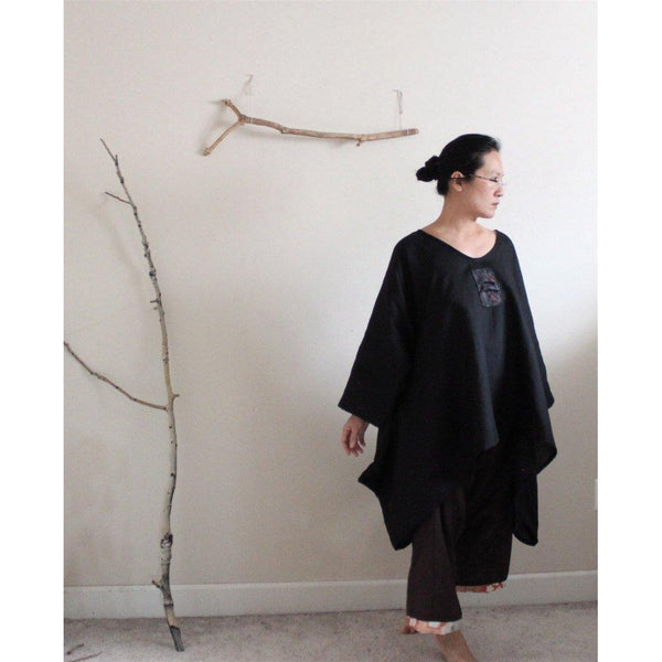 made to order plus size lagenlook kimono motif black linen top - linen clothing by anny