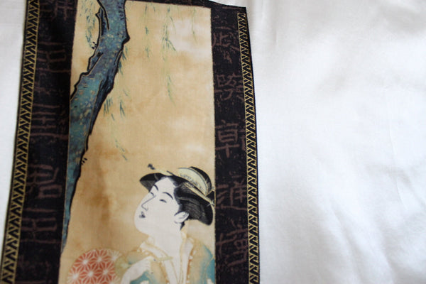 custom silk cotton over size  tunic with geisha under willow tree panel made to order listing