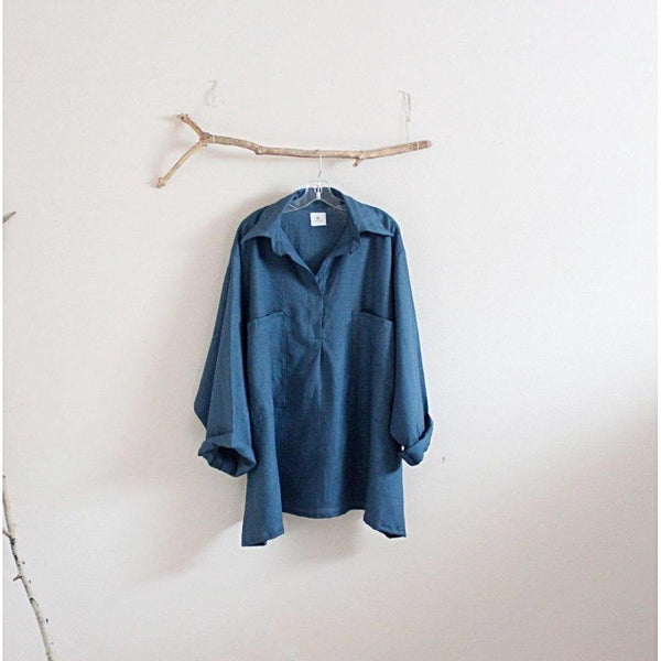 custom plus size linen shirt-top-linen clothing by anny