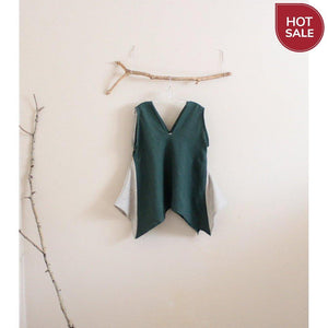 Free US Shipping / emerald pebble linen origami seam flare top size M-top-linen clothing by anny