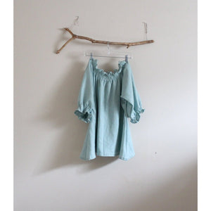 custom light blue relaxed shirring linen top - linen clothing by anny