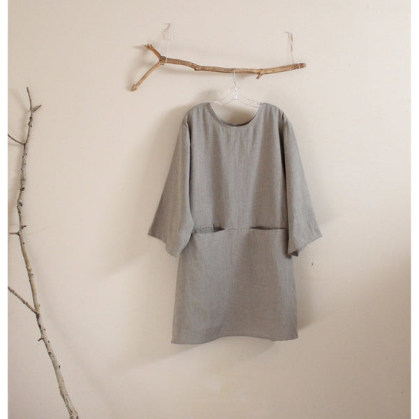 custom linen dress with hidden pockets