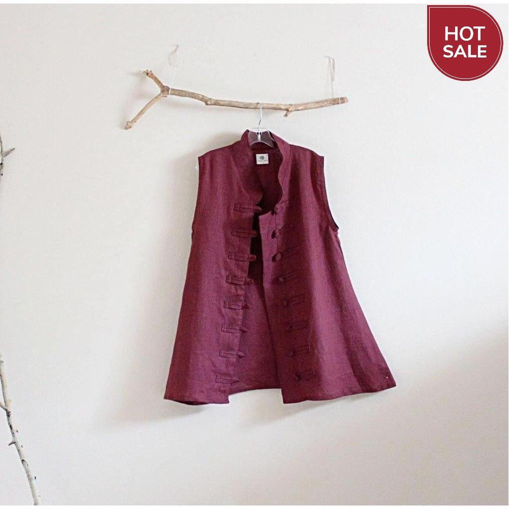 burgundy linen vest top size M / ready to wear-vest-linen clothing by anny