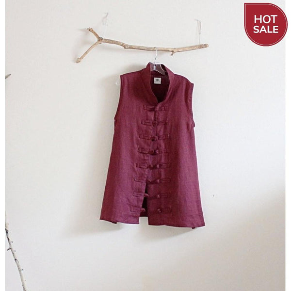 Sold / burgundy linen vest top size M  ready to wear - linen clothing by anny