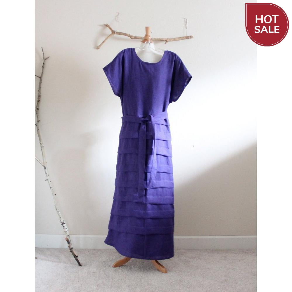 ready to wear purple linen pleated dress size L or XL - linen clothing by anny