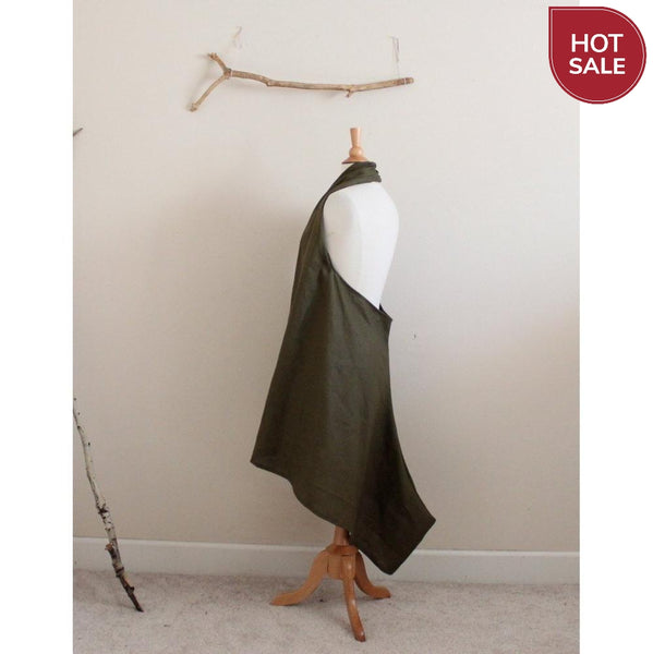 ready to wear olive linen chic low cut halter dress-dress-linen clothing by anny