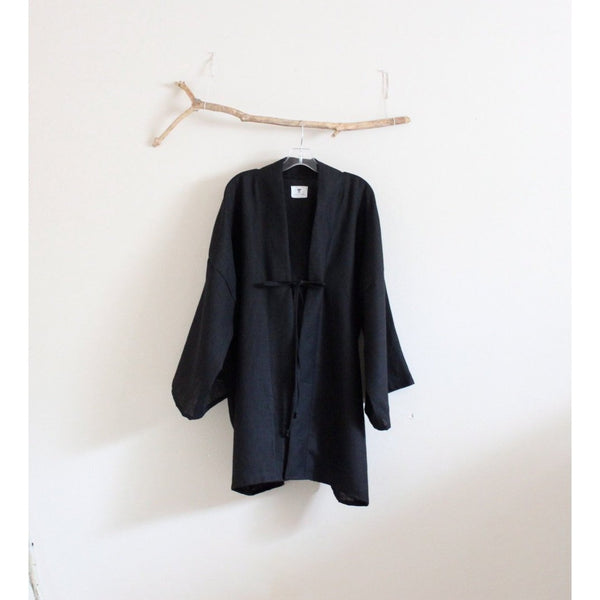 custom geisha black linen haori inspired jacket