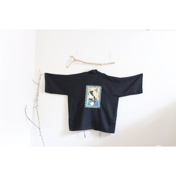 custom geisha black linen haori inspired jacket - linen clothing by anny