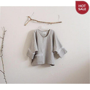 Sold / lace deco oversized natural linen top ready to wear - linen clothing by anny
