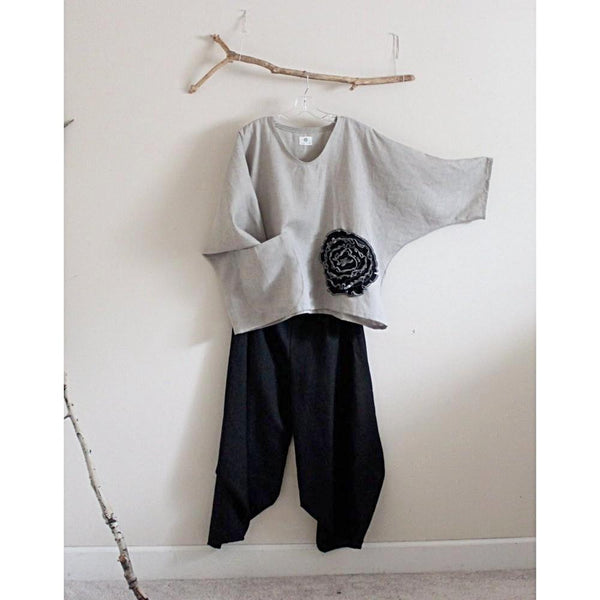 linen outfit black flower natural linen top and ninja pants-linen outfit-linen clothing by anny