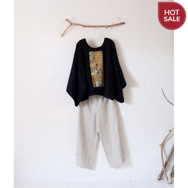 oversized deep blue wool top with vintage kimono panel ready to wear-top-linen clothing by anny