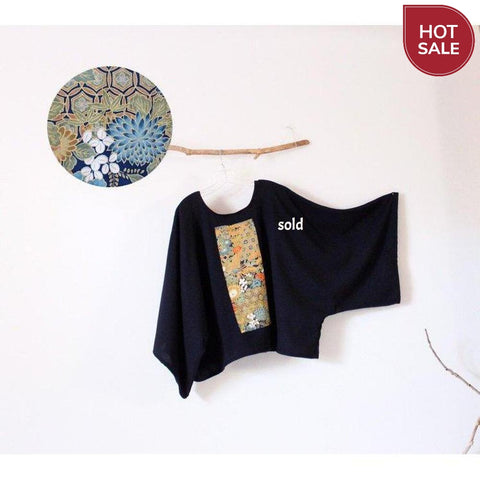 Sold / oversized deep blue wool top with vintage kimono panel ready to wear - linen clothing by anny
