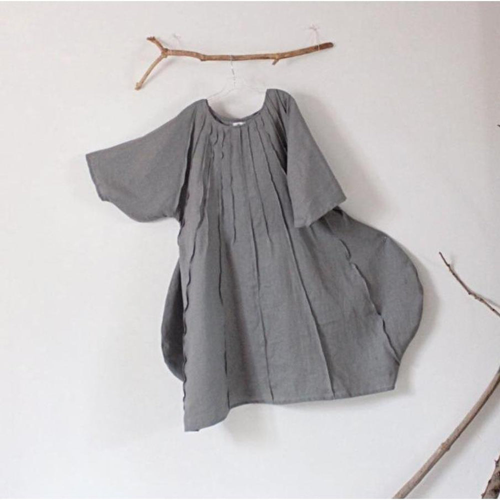 made to order pleated vase gray linen dress - linen clothing by anny