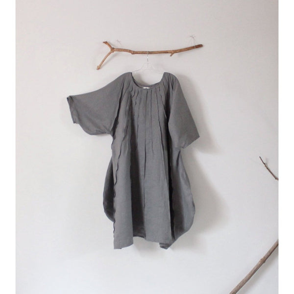 made to order pleated vase linen dress-dress-linen clothing by anny