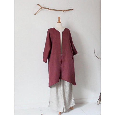 custom heavy linen coat with welt pockets open center