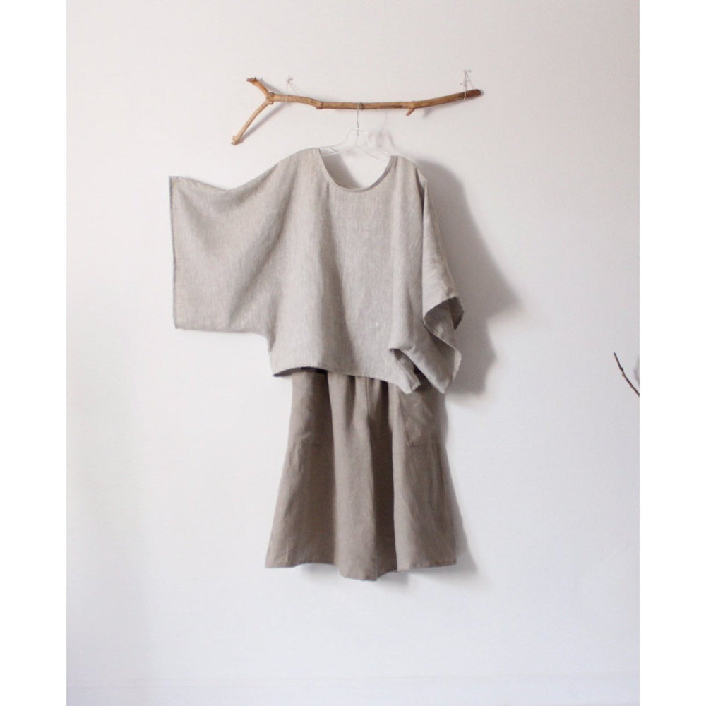Natural linen outfit kimono sleeve top shirred waist gaucho pants custom listing-linen outfit-linen clothing by anny