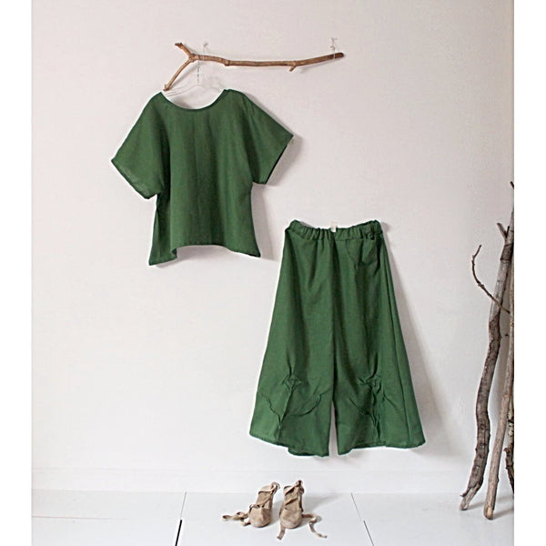 custom linen outfit  simple wavy top and wide leg pants - linen clothing by anny